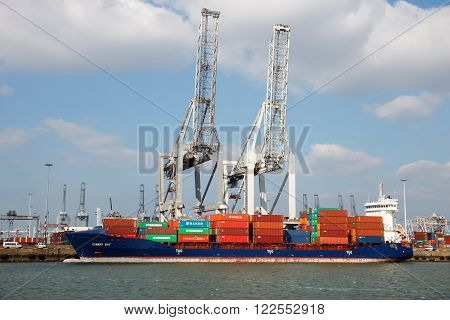 ROTTERDAM, NETHERLANDS - MAR 16, 2016: Container ship moored in the Port of Rotterdam.