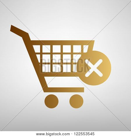 Shopping Cart and X Mark Icon, delete sign. Flat style icon with golden gradient