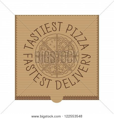 Flat pizza box. Vector fast food. Flat vector pizza express delivery. Isolated pizza box. Restaurant pizza delivery. Cardboard pizza box.