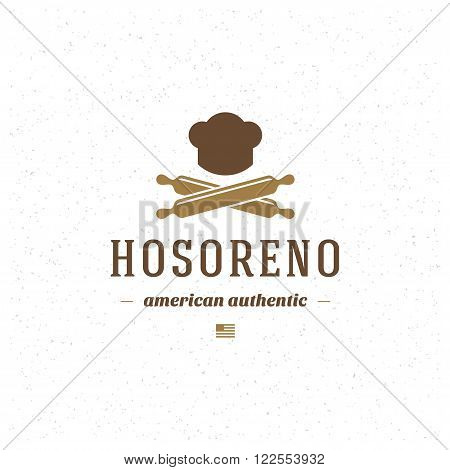 Restaurant Logo Template. Vector Design Element Vintage Style for Logotype, Label, Badge, Emblem. Brewery Logo, Restaurant Label, Cafe Logo, Rolling-pin Icon, Retro Logo, Chef Cook Hat Symbol.