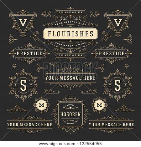 Vintage Vector Ornaments Decorations Design Elements. Flourishes calligraphic combinations Retro Logo, Royal Logos, Crest Logos, Greeting cards, Ornament Logos, Vintage logos, Invitation, Menu Design.
