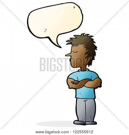 cartoon man refusing to listen with speech bubble