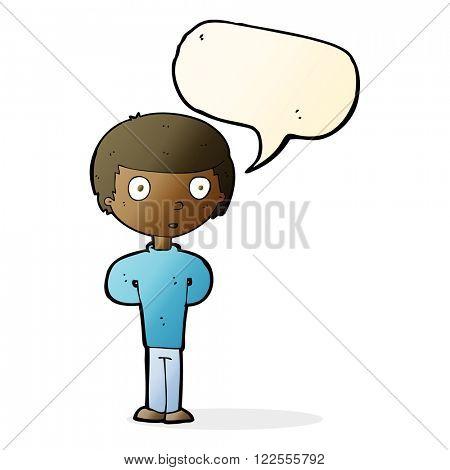 cartoon curious boy with speech bubble