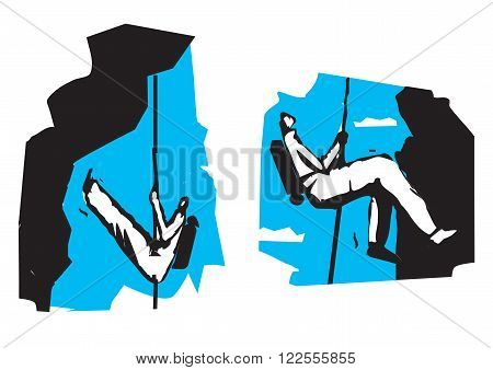 Two climbers in the rocks.Illustration suitable for printing T-shirts. Vector available.