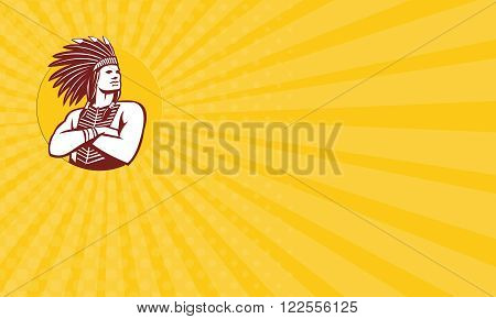 Business card showing illustration of a native american indian chief wearing feather headdress with arms folded looking to the side viewed from front done in retro style set inside circle on isolated background.