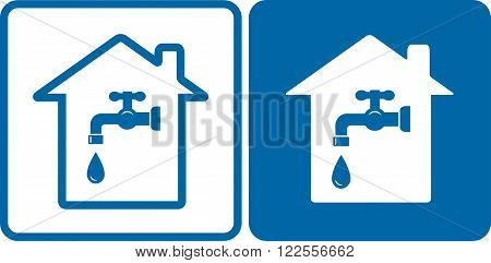 set of house and water tap on blue and white background