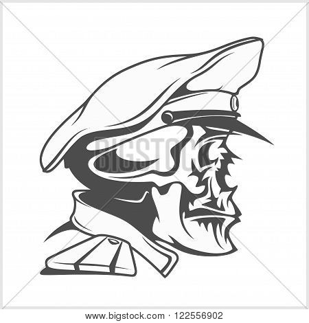 Captain Skull in a hat. Vector isolated illustration.
