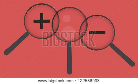Magnifier set, set of magnifiers on red background. Enlarge or smaller. Reflection