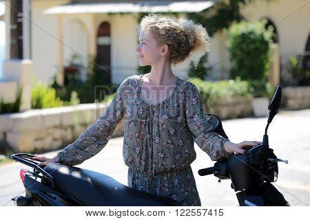Woman With Motor Bike
