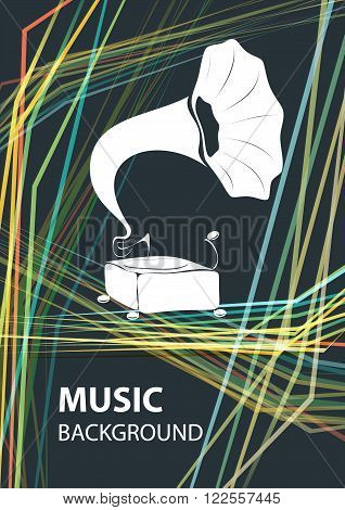 Music background vector template with gramophone. Concept of concert poster or a flyer featuring gramophone in retro style on black background.