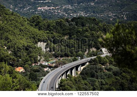 Highway Bridge Among Mountains