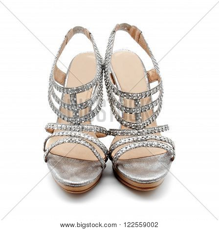 Silver high heel women shoe isolated on white a background