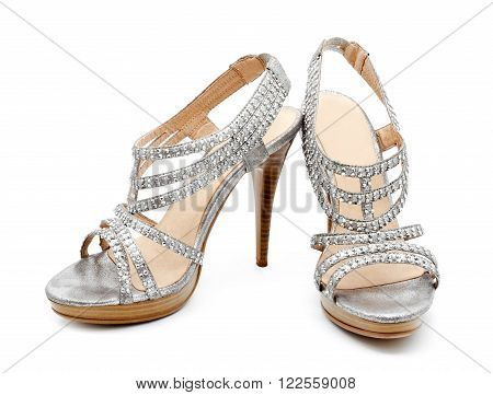 Silver high heel women shoe isolated on white