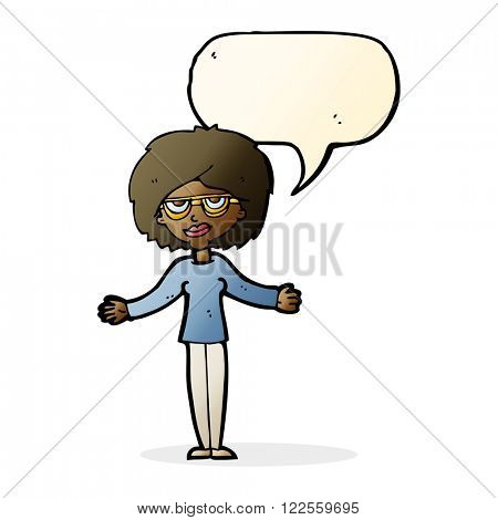 cartoon woman wearing spectacles with speech bubble