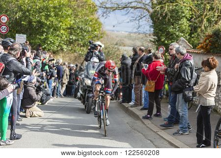 Conflans-Sainte-Honorine, France-March 62016: The Dutch cyclist Tom Dumoulin of Giant-Alpecin Team riding during the prologue stage of Paris-Nice 2016. Matthews was the winner of the stage.