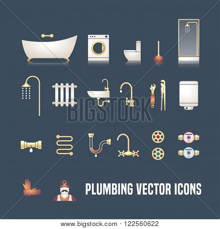 Collection of vector plumbing symbols and objects. Illustrations of droplet pipes faucet handyman bathtub shower