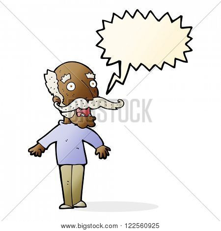 cartoon old man gasping in surprise with speech bubble