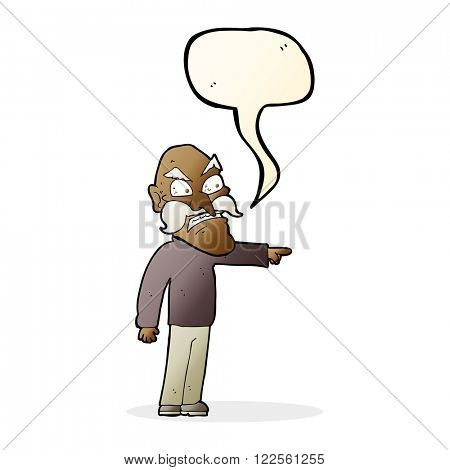 cartoon furious old man with speech bubble
