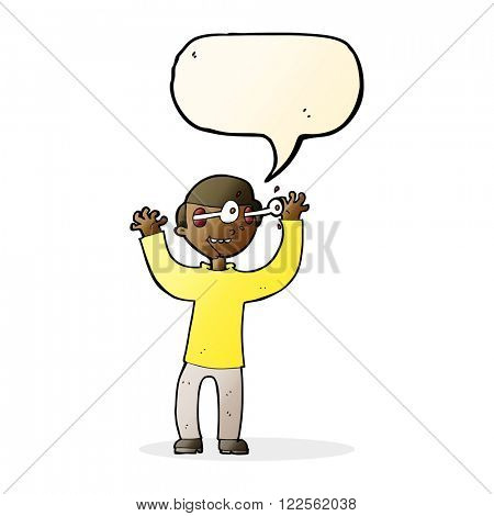 cartoon man with eyes popping out of head with speech bubble