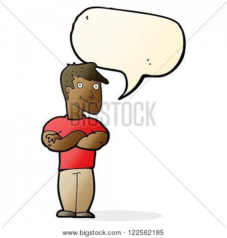 cartoon muscular man with speech bubble