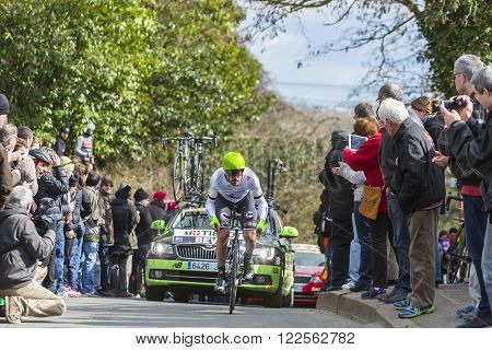 Conflans-Sainte-Honorine,France-March 62016: The New Zealand cyclist Patrick Bevin of Cannondale Team riding during the prologue stage of Paris-Nice 2016.
