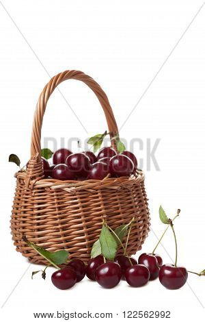 Wattled basket filled with ripe cherries isolated on white background