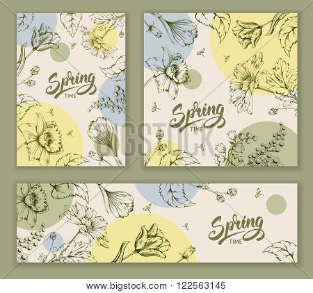 Set of Vector Vintage Floral Card Designs on Spring Theme. Spring Flowers Painted in Engraved Style. Calligraphic Lettering Spring. vector Illustration.