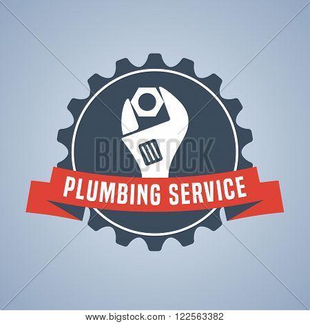 Vector plumbing service logo sign. Template logotype design element