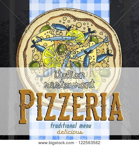 promotional image of pizza that will be used in a pizzeria for promotional products