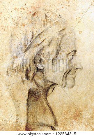 Hand drawn head, Illustration half face. Gypsum bust drawn in pencil. Profile portrait