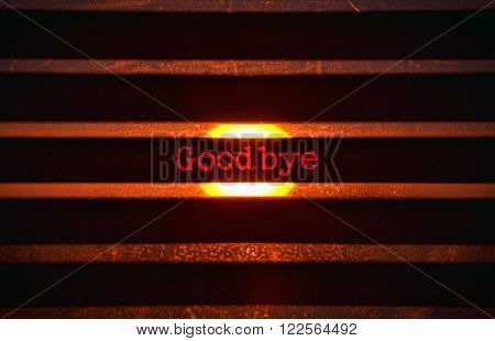 Word Goodbye in red and bright sunlight in the background