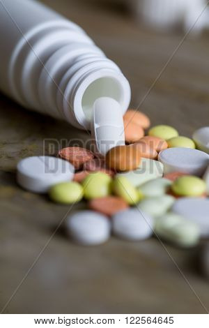 different Tablets pills capsule heap mix therapy drugs doctor flu antibiotic pharmacy medicine medical ** Note: Shallow depth of field