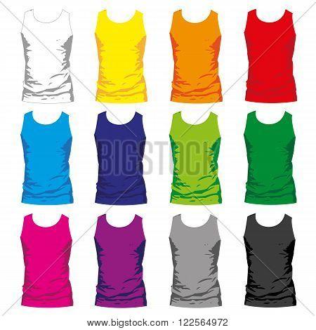 set of colorful Tshirt tanks for men