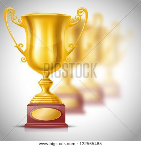Realistic Golden Trophy Cup on Blurred Background with Defocused Trophy Cups. Winner Cup. There is a Place For Your Text. Vector Illustration