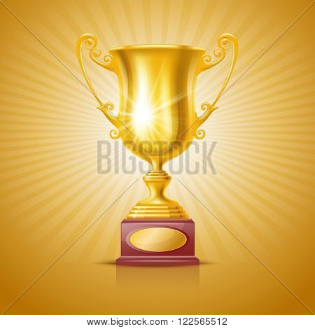 Realistic Golden Trophy Cup on Festive Background. Winner Cup. There is a Place For Your Text. Vector Illustration