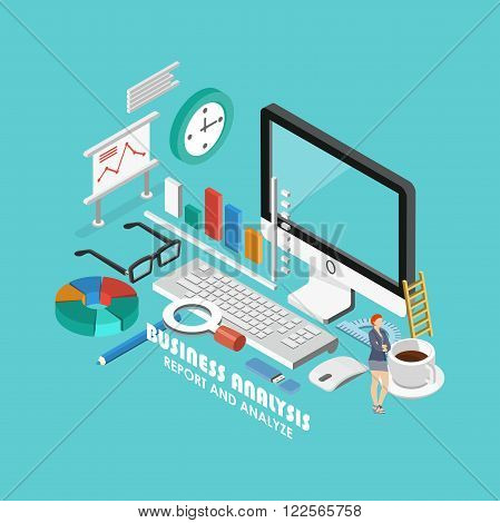 Isometric business analytics concept. Flat poster with notation and markers. Vector illustration