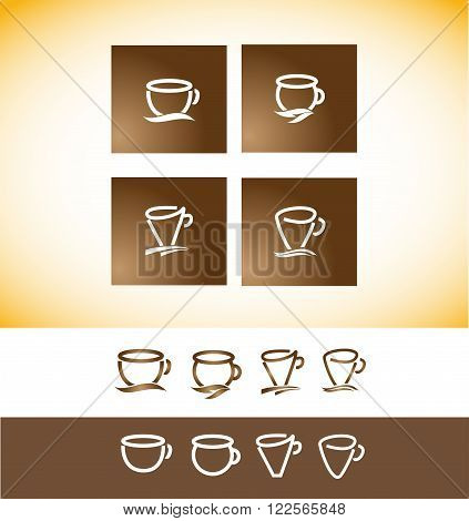 Vector company logo icon element template coffee espresso cup contour line hand drawing drawn shop