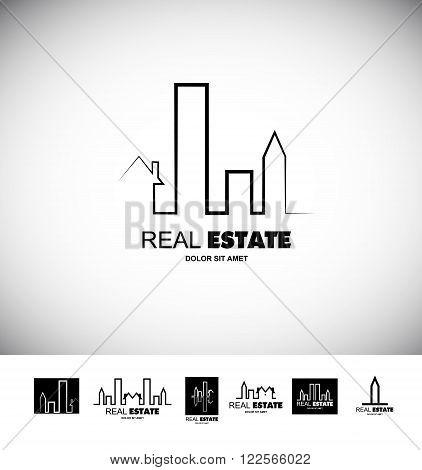 Vector company logo icon element template black white line real estate city cityscape contour