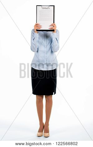 Businesswoman covers face with clipboard. Standing secretary covers her face. Wrong place to hide. Can you find a woman.