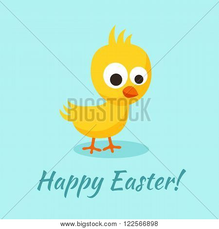 Happy Easter greeting with small yellow chick in flat design style.