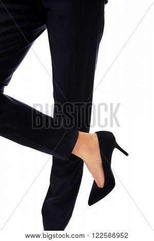 Female slim legs in high heels