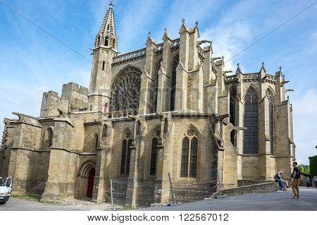 CARCASSONNE, FRANCE - MAY 05, 2015: The Basilica of Saints Nazarius and Celsus (French: Basilique des Saints Nazaire et Celse) is a romanesque-gothic minor basilica, located in the citadel of Carcassonne, France