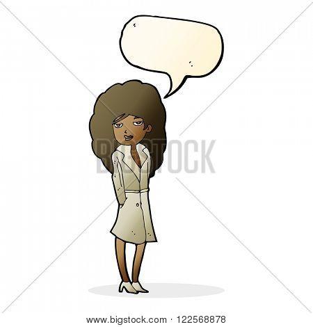 cartoon female spy with speech bubble