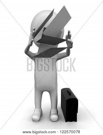 3D Man Throwing Away Papers Concept