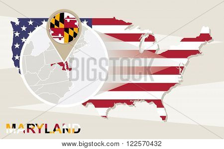 Usa Map With Magnified Maryland State. Maryland Flag And Map.