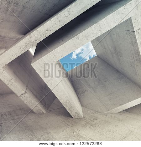 Concrete Room Interior With Blue Cloudy Sky