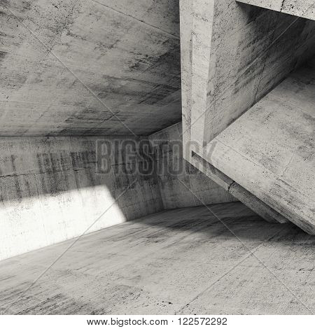 Square Abstract Architecture Background, 3D