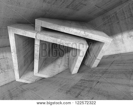 Abstract Concrete Interior With Cubic Structures