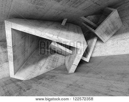 Concrete room interior with chaotic cubic structures. Abstract architecture background, 3d illustration