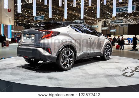 Geneva, Switzerland - March 1, 2016: 2016 Toyota C-HR presented on the 86th Geneva Motor Show in the PalExpo